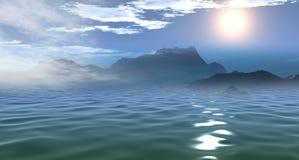 3D美好的海早晨视图 库存照片