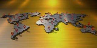 3d翻译与geolocation的许多标志的世界地图 皇族释放例证