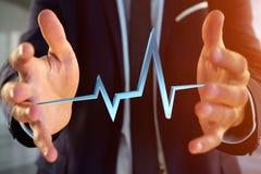 3d翻译在一个未来派接口的心跳线 库存图片