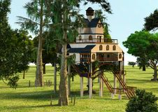 3D翻译小屋样式树上小屋 图库摄影