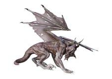 3D翻译幻想在白色的吸血鬼龙 免版税图库摄影