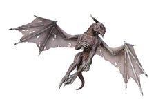 3D翻译幻想在白色的吸血鬼龙 免版税库存图片