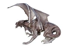 3D翻译幻想在白色的吸血鬼龙 免版税库存照片