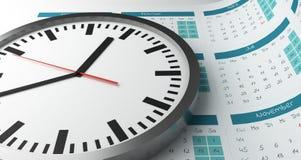 3d翻译时钟表盘和日历数字 库存图片