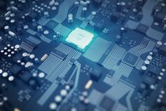 3D翻译电路板 背景二进制代码地球电话行星技术 中央计算机处理器CPU概念 主板数字式芯片 库存例证