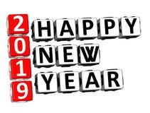 3D翻译纵横填字谜2019年在白色Backg的新年快乐词 库存例证