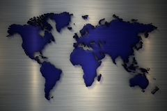 3d翻译蓝色透明玻璃世界地图在metelic背景的 库存例证