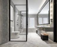 3d翻译豪华现代设计卫生间和洗手间 库存图片