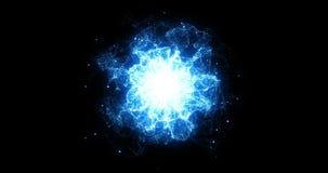 3D翻译,抽象宇宙在黑背景,纹理作用的爆炸冲击波蓝色能量 向量例证