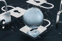 3d翻译,金属锁有数字概念背景 库存例证