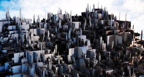 3d翻译 一个未来派城市 免版税库存图片