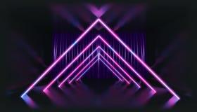 3d翻译 在霓虹灯的几何图反对一个黑暗的隧道 激光焕发 库存例证