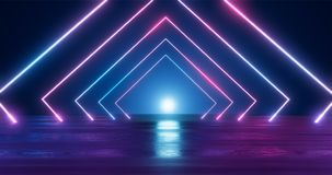 3d翻译 在霓虹灯的几何图反对一个黑暗的隧道 激光焕发 皇族释放例证