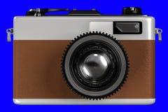 3d老减速火箭的照相机翻译在蓝色背景f的 图库摄影