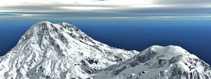 3D聘用冬天山风景1 免版税库存照片