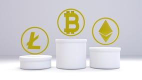 3d肩并肩Litecoin、Bitcoin和Ethereum翻译有白色背景 图库摄影