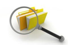 3d背景文件文件夹玻璃扩大化的白色 免版税库存图片