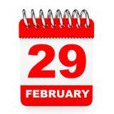 3d背景日历图象查出的白色 2月29日 免版税库存照片