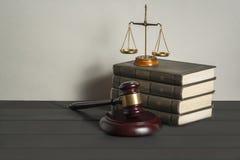 3d背景概念例证查出的法律回报了白色 有正义法律书籍、标度在桌上在法庭或执行办公室的木法官惊堂木 免版税库存照片