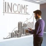 3d背景概念收入回报了白色 免版税库存照片
