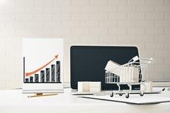 3d背景概念查出的增长例证回报了白色 免版税库存照片