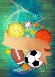 3d背景球例证回报了体育运动 免版税库存图片
