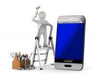 3d背景镜象电话服务白色 被隔绝的3d例证 库存照片