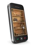 3d背景镜象电话服务白色 免版税库存照片