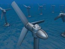 3d能源图象河水下轻拍的涡轮 皇族释放例证