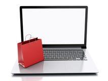 3d膝上型计算机和五颜六色的购物袋 拟订商务计算机概念赊帐e现有量关键董事会 免版税库存照片
