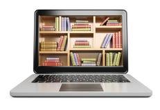 3d膝上型计算机 数字式图书馆概念 图库摄影