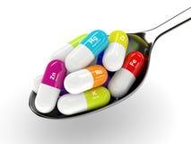 3d膳食补充剂翻译在匙子的被隔绝在白色 向量例证