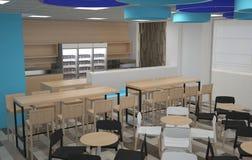 3D自助食堂室内设计的形象化 免版税库存图片