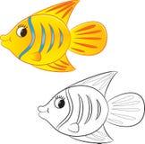 3d艺术动画片概念鱼回报 书五颜六色的彩图例证 免版税库存图片