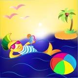 3d艺术动画片概念鱼回报 库存图片