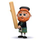 3d苏格兰男子扔投棒 向量例证