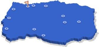 3d莱索托的等轴测图地图有蓝色表面和城市的 免版税图库摄影