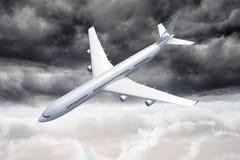 3D落在天空的飞机 免版税库存照片
