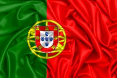 3d葡萄牙的挥动的旗子 免版税库存照片