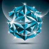 3D蓝色发光的球形 使抽象illustrat目炫的传染媒介分数维 免版税图库摄影