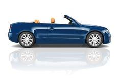 3D蓝色敞篷车汽车的图象 免版税库存照片