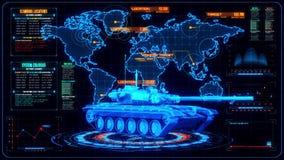 3D蓝色橙色坦克HUD接口行动图表元素 皇族释放例证