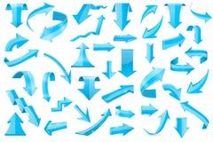 3d蓝色的箭头 套发光的标志 免版税库存图片
