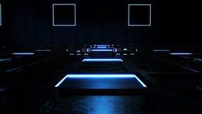 3D蓝色科学幻想小说技术室环境介绍商标背景 股票录像