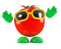 3d蕃茄用他的手在天空中 免版税库存图片