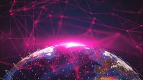3d行星地球和连接小点,不同的大陆,计算机生成的回报的背景 股票视频