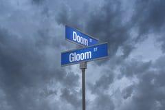 3D街道sign_doom和幽暗街道的例证 库存例证