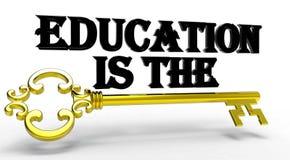 3D被回报的教育是钥匙 免版税库存图片
