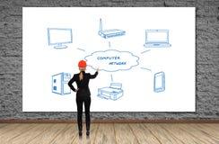 3d被回报的计算机网络照片 免版税图库摄影