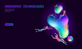3D被增添的现实真正媒介空间 小人教育发光的霓虹流动液体颜色球形 数字式 向量例证